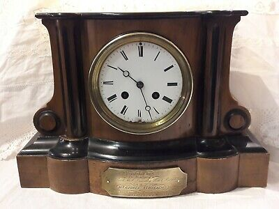 Antique Victorian Walnut 8 Day Bell strike mantel clock dated 1864