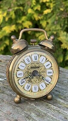 Beautiful Vintage Seliva West West German Brass Coloured Alarm Clock *