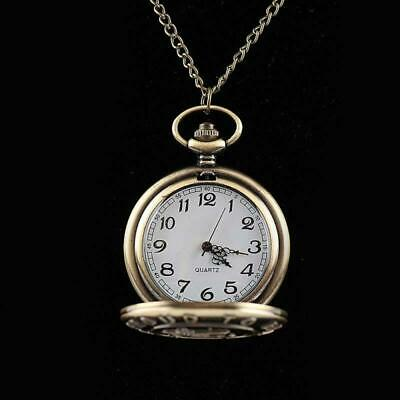 Retro Antique Bronze Pocket Quartz Watch Pendant Necklace Vintage Chain Gifts UK