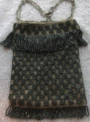 "BEADED BAG  WOMENS on beige fabric mid century black 5 1/2"" x 7"" plus fringe"