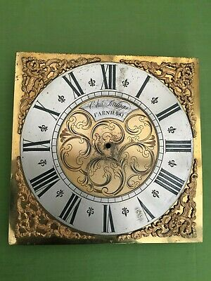 "A Brass 11"" Sq Single Hand Longcase Clock Dial By Charles Snuggs C1770 )"
