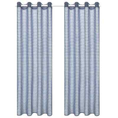 vidaXL 2x Woven Striped Sheer Curtains 140x245cm Steel Grey Window Drape Blind#