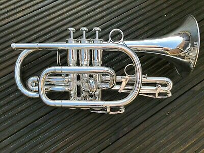 Boosey & Hawkes Large Bore Sovereign Bb Cornet-Fantastic Condition Silver Plated