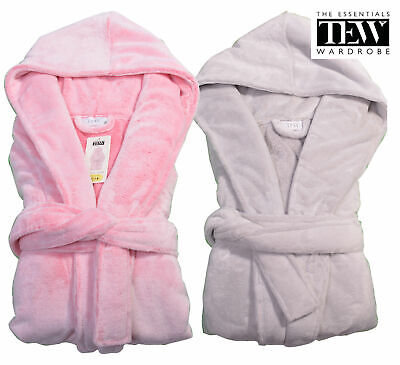 Ladies Fleece Robe Hooded Womens Two Tone Luxury Super Soft Dressing Gown 8-22