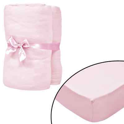 vidaXL 4x Fitted Sheets for Cots Cotton Jersey 70x140cm Pink Mattress Cover#