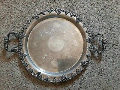 """Large Antique Federal S. Co. Silver on Copper Ornate Grapes 14""""Round Tray"""