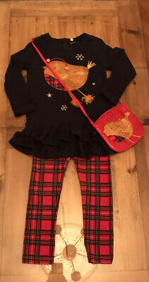 Bluezoo Christmas Robin 3 Piece Outfit- Perfect  Girls Age 5/6