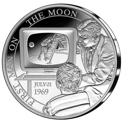 Belgium 5 Silver Be - 50 Years of the First Steps on the Moon