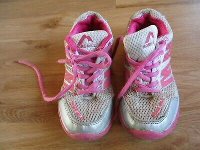 Girls More Mile Pink Running Trainers Shoes Size 13