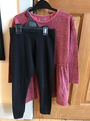 Girls NEXT tunic and leggings size 8 years long sleeved animal print cotton
