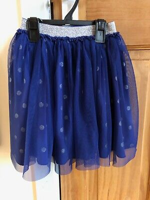 Girls Joules party skirt size 5-6Y Navy with silver spots & elasticated waist
