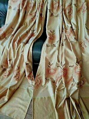OLD PAIR FRENCH  HEAVY  CURTAINS  PINK ROSES each 88 INS WIDE 94 INS LONG