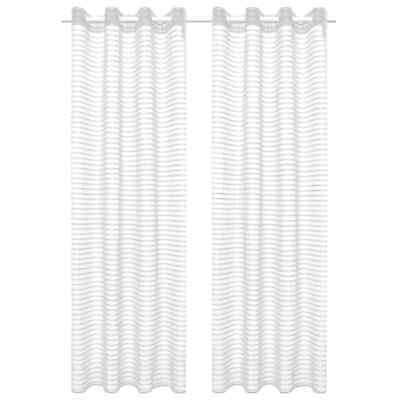 vidaXL 2x Woven Striped Sheer Curtains 140x245cm White Home Window Drape Blind~