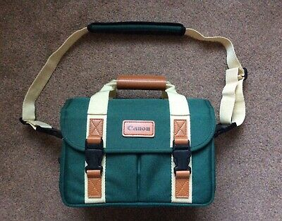 CANON Green SLR DSLR Camera Outfit Bag Case Classic Vintage Look VGC