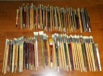 HUGE Lot 135 Artist Paint Brushes Newton, Simmons,Cornell, Grumbacher, Princeton