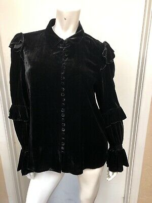 FRAME Black Womens Velvet Victorian Button-front Ruffle Blouse size Large