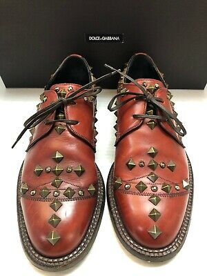 """DOLCE /& GABBANA /""""Siracusa/"""" Solid Bi-Color Derby Shoes Black Red 04665"""