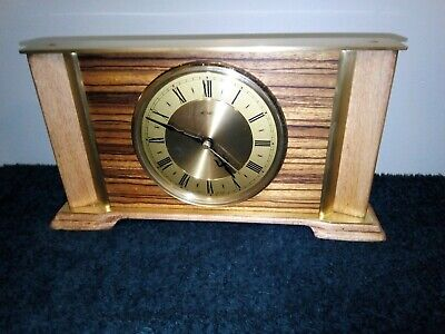 Vintage Retro 1970s Quartz Metamac , Brass & light Wood. Working Mantle Clock.
