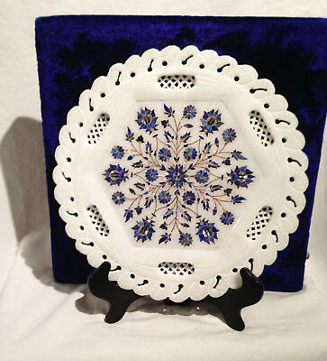 Stunning  - MOTHER OF PEARL & LAPIS  - PLATE w Case