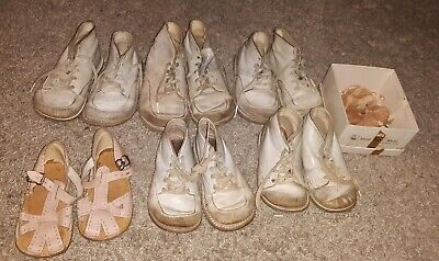 Lot 7 Pairs Vintage Baby toddler Shoes white pink antique 1940s 1950s