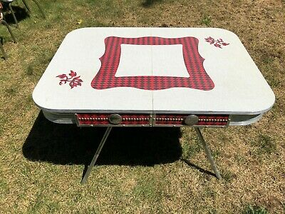 Mid Century Chrome Formica Dinette Kitchen Set 4 Chairs & Table Red and White