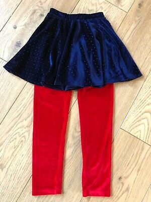 Girls age 4-5 red velvet leggings & blue skater skirt set by george worn once