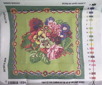 EHRMAN Vtg 1994 Tapestry Canvas Kaffe Fassett Ribbon Nosegay Floral Cushion 16""