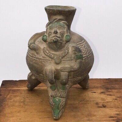 "pre columbian tripod rattle figural bowl reproduction, H:6.25"", mayan design (?)"
