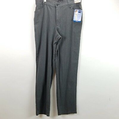 Riders By Lee Women's Size 14 Dress Pants Long Gray Striped Eased Stretch Career