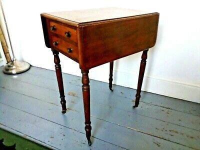 Antique Victorian mahogany inlaid pembroke table with 2 drawers