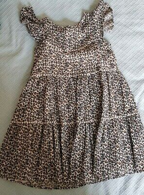 Girls NEXT Leopard Print Dress - Age 8 Years 128cm Excellent Condition