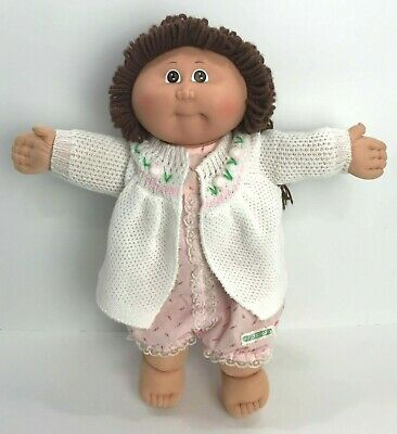 Cabbage Patch Kids Girl Doll 1985 Brown Hair & Eyes Pink Jumper White Sweater