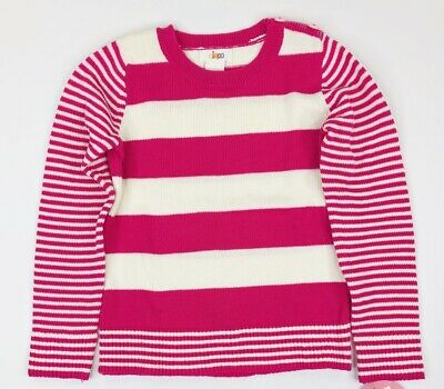 Circo Girls Pink White Striped Pull Over Sweater Heart Buttons