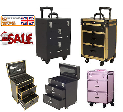 New Pro 3 Draw Rolling Trolley Vanity case with telescopic Handle Make up Case