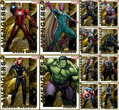 Topps Marvel Collect AVENGERS 2019 [12 CARD 2nd Printing GOLD SET] Iron Man/Cap+