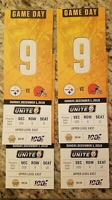 (4) Pittsburgh Steelers vs Clev Browns Tickets 12/01/19 Game!!!