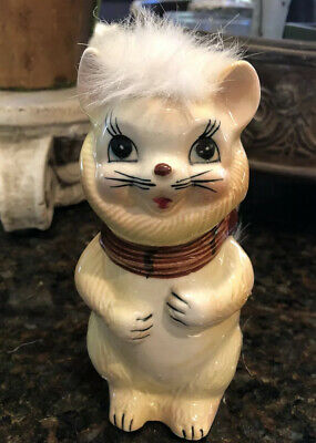 Vintage Yellow Ceramic Cat Coin Bank Faux Fur Kitsch Fluffy Ceramics