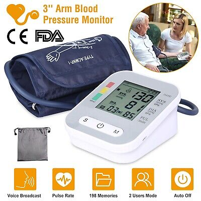 "Automatic Upper Arm Blood Pressure Monitor BP Gauge Voice Broadcast 3""LCD 2 User"