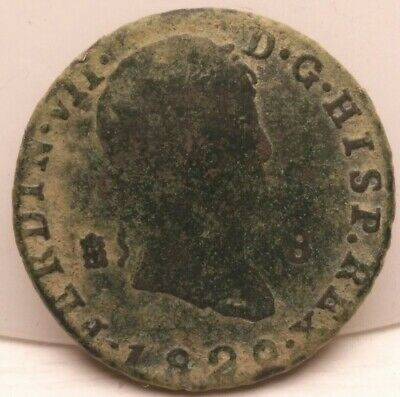 The Scarce 1822 Spanish Coin Ancient Pirate Sea Shipwreck Era Old Spain Antique
