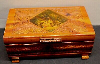 Vintage Jewelry Trinket Cedar Chest Box Carved Scene Top Art Wooden