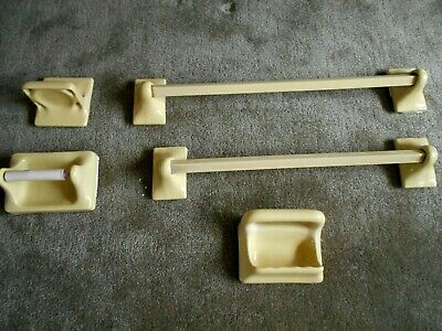 VTG Mid-Century Ceramic Yellow Bath Wall Mount Fixture 10 Piece Set (Pre-Owned)
