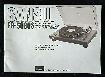Original Vintage SANSUI FR-5080S Stereo Turntable Operating Instructions Manual
