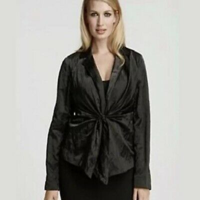$338 EILEEN FISHER STEEL SATIN NOTCH COLLAR TIE FRONT JACKET L