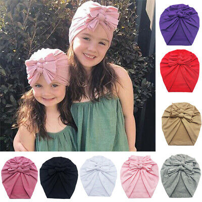 Newborn Girls Headband Hat Cotton Turban Bow Hairband Baby Infant Head Wrap Caps