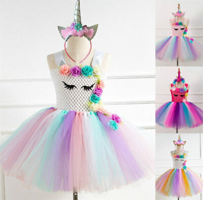 Kids Flower Girls Party Unicorn Tutu Rainbow Fancy Dress Costume Headband Outfit