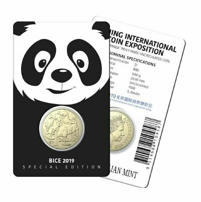 Australia 2019 $1 Mob Of Roos - Panda Privy - Beijing Coin Expo Unc Coin On Card