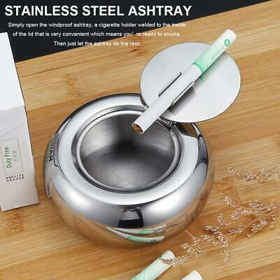 Stainless Steel Drum Shape & Lid Ashtray with Cover Smokeless Round Cigar Holder
