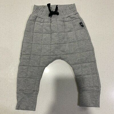 HUXBABY Grey Quilted Drop Crotch Pants (size 6-12 Months)