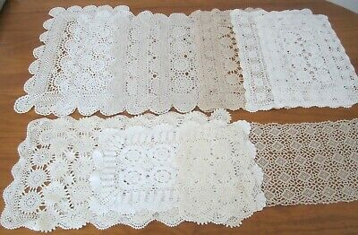 13 Rectangle Crochet Placemats/Doileys -Off White & Beige-Freshly Laundered-Used