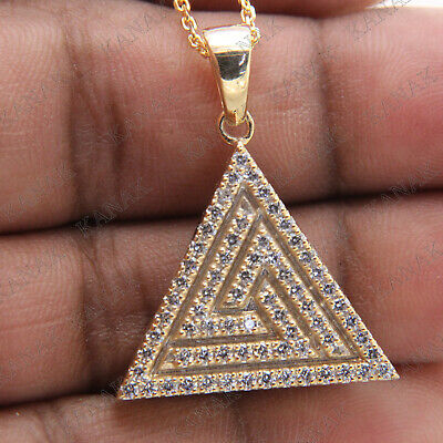 Egyptian Pyramid Pendant Necklaces 2.10 Ct Diamond Solid Real 10k Yellow Gold
